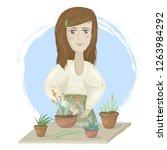 young girl gardener | Shutterstock .eps vector #1263984292