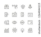 seo related icons  thin vector... | Shutterstock .eps vector #1264044115