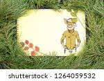 new year greeting card with pig....   Shutterstock . vector #1264059532