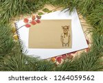 new year greeting card with pig....   Shutterstock . vector #1264059562
