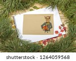 new year greeting card with pig....   Shutterstock . vector #1264059568