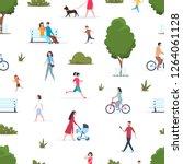 people in park seamless pattern.... | Shutterstock .eps vector #1264061128