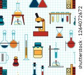 chemistry. laboratory glassware ... | Shutterstock .eps vector #1264072672