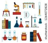 chemistry. laboratory glassware ... | Shutterstock .eps vector #1264072828