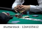 poker game addicted person... | Shutterstock . vector #1264105612
