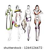 fashion girls sketch. fashion... | Shutterstock .eps vector #1264126672