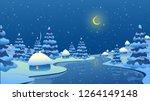 winter landscape. snow drifts... | Shutterstock .eps vector #1264149148