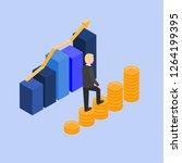 businessman climbing on chart... | Shutterstock .eps vector #1264199395