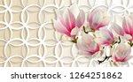 3d wallpaper  magnolia on rings ...   Shutterstock . vector #1264251862