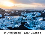 diamond beach in iceland with... | Shutterstock . vector #1264282555