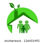 ecological house and happy... | Shutterstock .eps vector #126431492