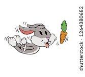 rabbit sniffing carrot cartoon   Shutterstock .eps vector #1264380682