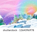 cartoon winter nature scene  ... | Shutterstock . vector #1264396978
