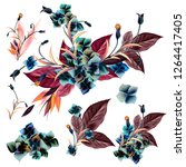 collection of vector flowers... | Shutterstock .eps vector #1264417405