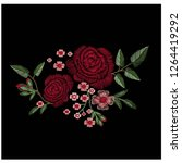 red rose embroidery vector... | Shutterstock .eps vector #1264419292