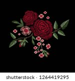 red rose embroidery vector... | Shutterstock .eps vector #1264419295