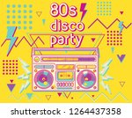 80s disco party funky colorful... | Shutterstock .eps vector #1264437358