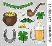 stickers set for saint patricks ... | Shutterstock .eps vector #1264456435