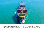 container ship in export and... | Shutterstock . vector #1264456792