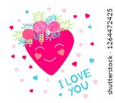 i love you   card with hearts... | Shutterstock .eps vector #1264472425