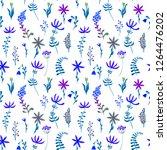 cute watercolor floral seamless ... | Shutterstock . vector #1264476202