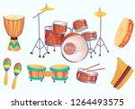 cartoon drums. musical drum... | Shutterstock .eps vector #1264493575