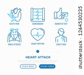 heart attack symptoms thin line ... | Shutterstock .eps vector #1264530235