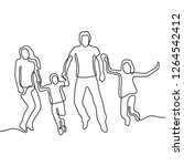 family jumping continuous line... | Shutterstock .eps vector #1264542412