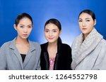 group three beautiful asian... | Shutterstock . vector #1264552798