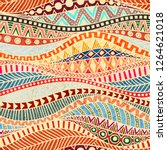 seamless wavy pattern. ethnic... | Shutterstock .eps vector #1264621018