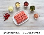minced meat and ingredients for ... | Shutterstock . vector #1264659955