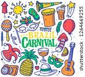 brazil carnival doodle hand... | Shutterstock .eps vector #1264669255