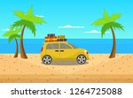 holiday cars on the beach | Shutterstock . vector #1264725088