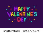 happy valentine's day lettering ... | Shutterstock .eps vector #1264774675