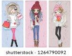 three hand drawn beautiful cute ...   Shutterstock .eps vector #1264790092