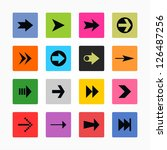 arrow sign icon set. black on...