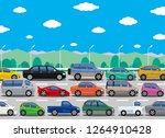 traffic jam illustration | Shutterstock .eps vector #1264910428