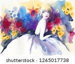 beautiful woman. fashion... | Shutterstock . vector #1265017738