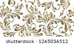 golden flowery pattern. floral... | Shutterstock .eps vector #1265036512