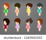 cute girl cartoon vector | Shutterstock .eps vector #1265042332