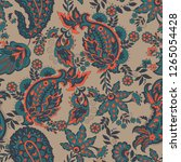 paisley seamless pattern with... | Shutterstock . vector #1265054428