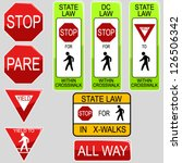 set of usa road signs | Shutterstock .eps vector #126506342
