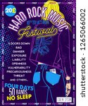 rock fest poster with girl.... | Shutterstock .eps vector #1265066002