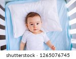 baby boy wearing diaper in... | Shutterstock . vector #1265076745
