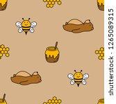 Seamless Bear And Bee Vector...