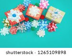 gift box with colorful ribbon... | Shutterstock . vector #1265109898