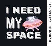 cute funny cat girl astronaut.... | Shutterstock .eps vector #1265137495
