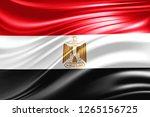 egypt  flag of silk  3d... | Shutterstock . vector #1265156725