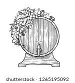 graphic wine barrel decorated... | Shutterstock .eps vector #1265195092