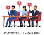 jury judges holding scorecards. ... | Shutterstock .eps vector #1265211088